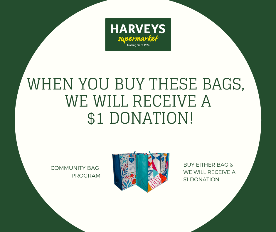 Exciting News! Harvey's Community Bag Program!