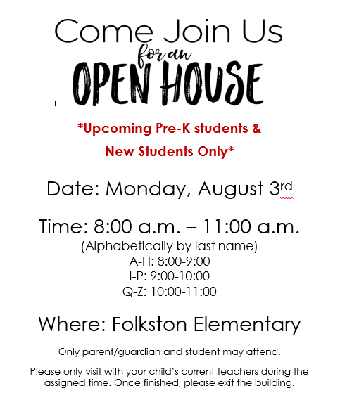 FES to have open house for new students only!
