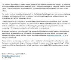 Superintendent releases statement to parents