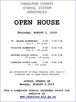 Open House schedule released
