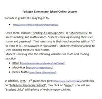 Online Lessson Access for Folkston Elementary School