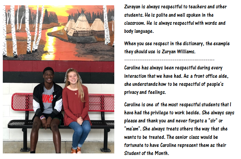 Zuryan Williams & Caroline Lloyd - 12th Grade
